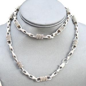 Big Heavy Silver Long Necklace pewter Chain Rocker